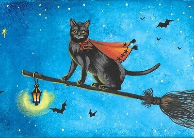 ACEO PRINT OF PAINTING RYTA BLACK CAT WITCH HALLOWEEN BROOM MAGIC AUTUMN FALL - Paintings Of Halloween