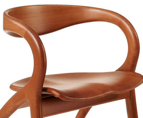 Vintage A.Sibau Curved Cherry Wood Italian Star Chair Made in Italy