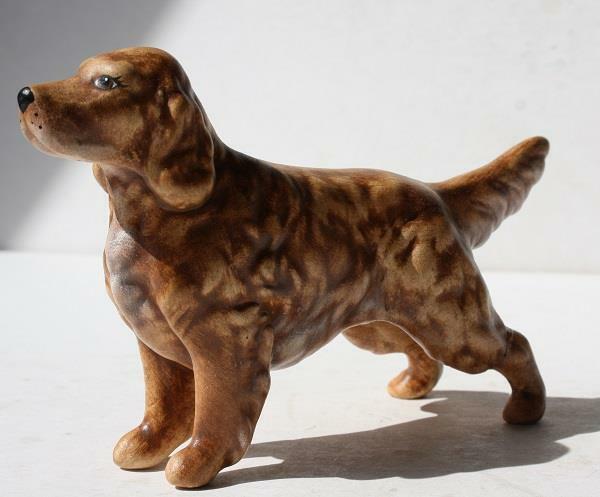 Springer Spaniel Dog Figurine Ceramic-Porcelain Hand Painted Standing Brown-VTG