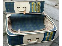 Vintage suitcases - two large plaid with old labels - trendy dog beds or display