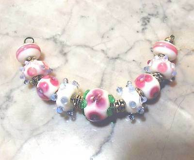 LNT- Handmade Lampwork Beads Pink FLOWERS- Nc1883 - Loose for Jewelry Crafts