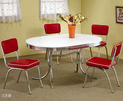 NEW 50's STYLE CHROME METAL RETRO OVAL KITCHEN DINING TABLE SET w/ RED CHAIRS - 50s Table