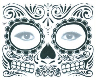 Gesicht tattoo temporary face temporär Body Art Fasching Halloween Skull Fun 11