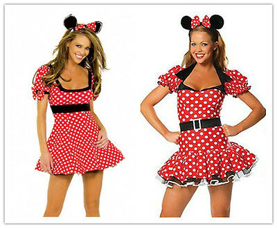 Halloween Womens Minnie Mouse Red Polka Dot Fancy Dress Costume Outfit Hen Party - Minnie Mouse Outfit For Women