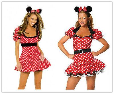 Halloween para Dama Minnie Mouse Rojo con Lunares Disfraz Despedida de Soltera - Disfraz De Minnie Mouse Halloween
