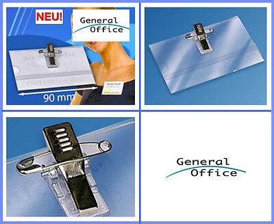 25 x Stück Namensschild-Halter Namensschild Halter mit Clip +Nadel Visitenkarten