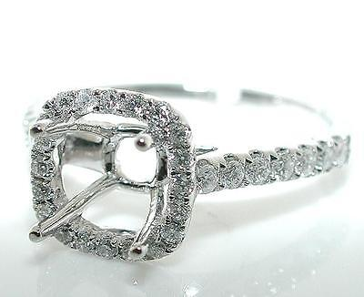 (0.4 CT CUSHION Halo Diamond MOUNTING Ring Setting 14K White Gold)