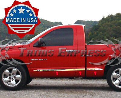 "fit:02-2008 Dodge Ram Regular Cab Short Bed 6Pc Flat Body Side Molding Trim 2"""