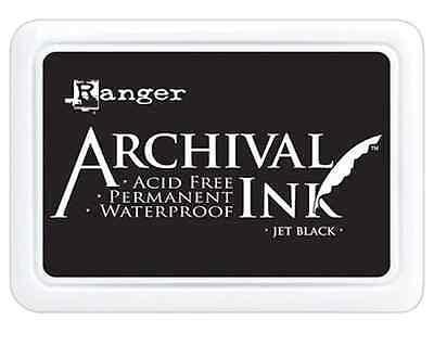 Ranger Archival Ink JET BLACK Permanent Ink Stamp Pad #0 Standard Size ()