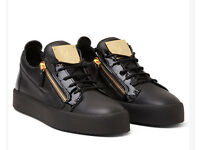 Giuseppe black leather and patent leather Trainers Size 8