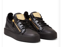 Giuseppe Zanotti black leather and patent leather Sneakers Size 9