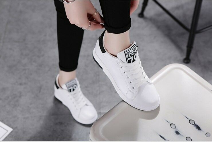 Womens Lace Up Platform Running Hidden High Wedge Heels Casual Sneakers Shoes