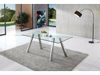 Pedro Glass Dining Table With Stainless Steel Legs