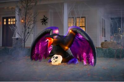 Gemmy 4.79 ft. Fuzzy Crow with Skull Halloween Inflatable NIB