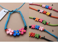 Bright coloured wooden daisy bead friendship corded bracelet - JTY050
