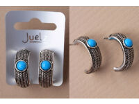 Pair of Silver coloured small hoop with turquoise bead. - JTY295