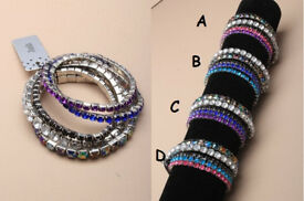 Pack of 5 Assorted coloured stone stretch bracelets - JTY079