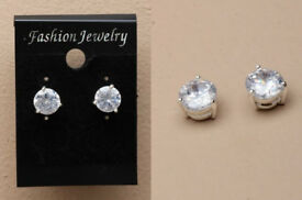 Pair of 9mm round crystal zirconia stud earrings. - JTY305