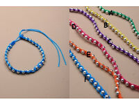 Bright coloured corded friendship bracelet with silver coloured balls - JTY108