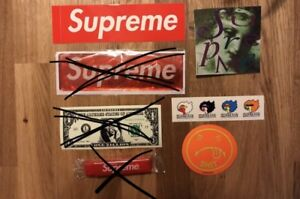 Authentic Supreme Stickers + Travel Toothbrush