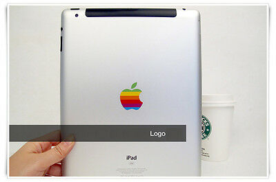 80s' Apple Rainbow Logo Protect Transparent Sticker iPad Air 2 Pro 9.7 10.5 inch