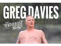 2 x Greg Davies Tickets - Stalls - Sheffield City Hall -Tuesday 17 Oct