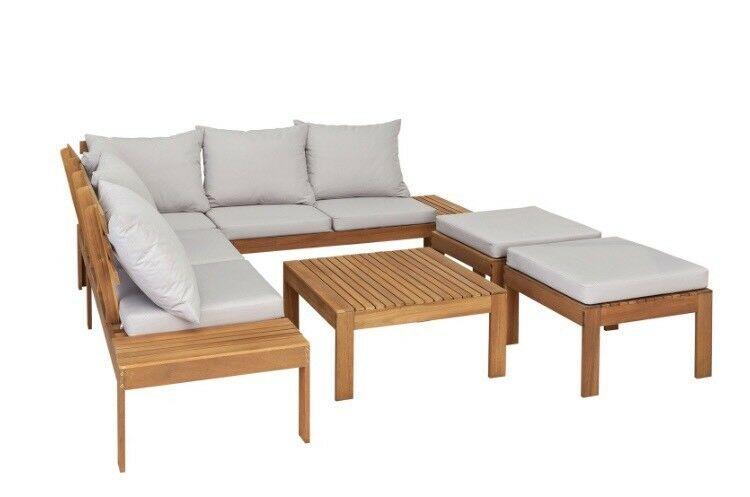 Argos 8 Seater Wooden Corner Sofa Set Outdoor Patio Furniture Cover Cushions Table Incl