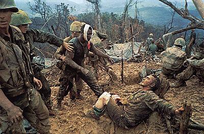 Vietnam War U.S. Marine Wounded Checks On Friends Condition 1968 8.5x11 Photo