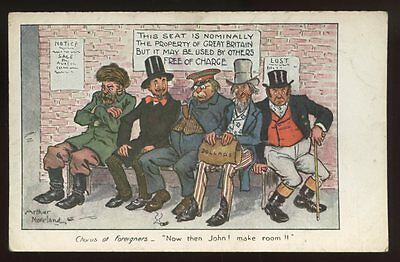 Political JOHN BULL Foreigners Unused artist drawn early PPC free trade satire