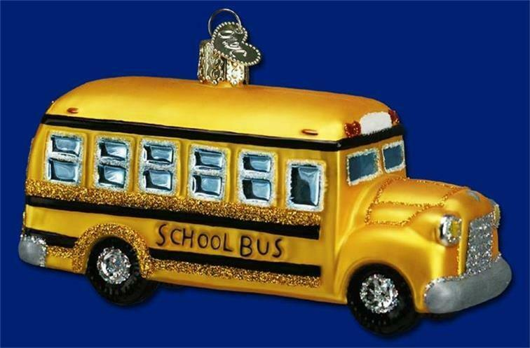 SCHOOL BUS OLD WORLD CHRISTMAS BLOWN GLASS TRANSPORTATION DRIVER ORNAMENT 46007