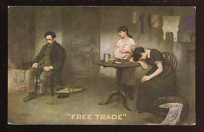 Political FREE TRADE bringing family ruin Early artist drawn Plain Back Card