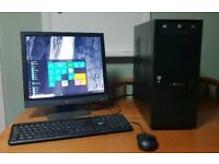 """Desktop PC 500GB hard disk, 8GB memory, Windows 10 Pro, Office 2016, 17"""" monitor, keyboard and mouse"""