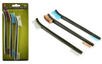 "3pc 7"" Double Ended Gun Cleaning Brush Set - Nylon Plastic Copper Brush"