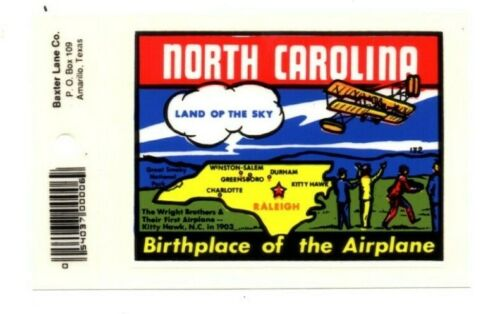 Lot of 12 North Carolina Airplane Souvenir Decals Stickers - New - Free S&H