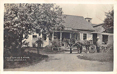 Lyme Center Nh Post Office   Store Stage Coach Rppc Postcard