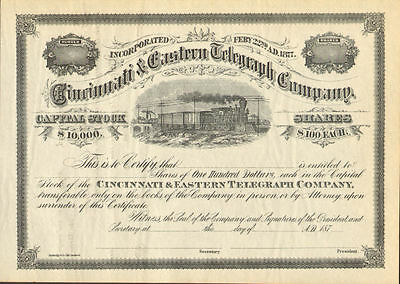 Cincinnati & Eastern Telegraph Co. stock certificate