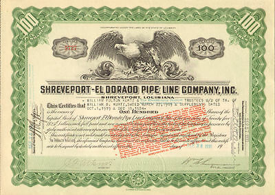 Shreveport - El Dorado Pipe Line > 1933 Louisiana oil stock certificate share