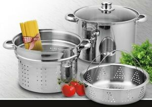 New-4PC-JARHILL-9qt-Heavy-Duty-Stainless-Steel-Stock-Pot-w-Pasta-Stemer-Inserts