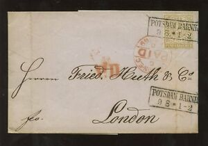 GERMANY-1869-POTSDAM-RAILWAY-STATION-BOXED-EMBOSSED-LETTERHEAD-L-JACOBS