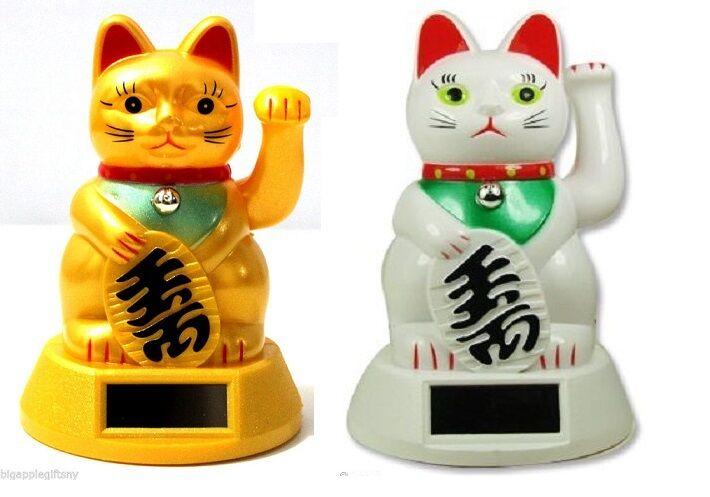 """WHITE GOLD Solar Powered FENG SHUI Lucky Beckoning Waving Cat Maneki Neko 5""""tall"""