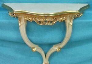 Piedistallo tavolo tavolino consolle a muro avorio foglia oro for Consolle da muro