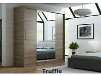 Brand new 160cm wide two sliding door wardrobe with mirror