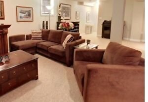 Two piece microsuede sectional and chair