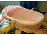 Girls pink and white moses basket