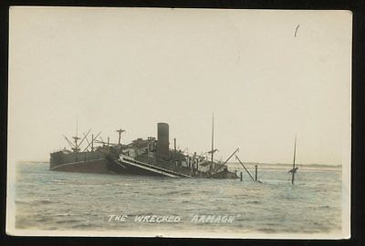 Shipping Armagh WRECKED 1923 RP PPC ref4