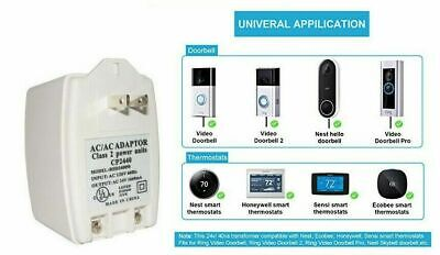 24vac 40 Va Ac Transformer With Ptc Fuse - 2 Prong C-wire Thermostat Doorbell