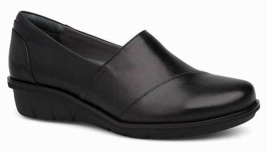 Dansko Women's Wedge Shoes Black Julia Milled Nappa Leather