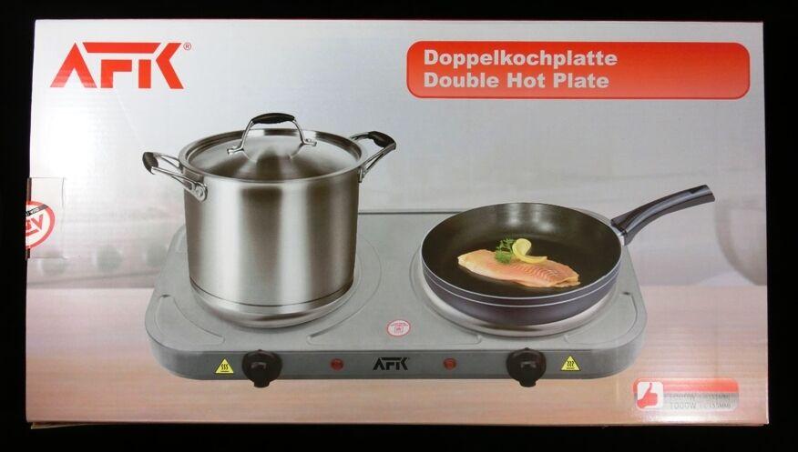 AFK Doppel Kochplatte 2 x 1000 Watt silber Kochfeld Doppelkochplatte NEU.....