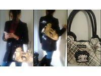 Ladies three quater length black sequiened coat size 10 £20 & betty boop bag £10. Will bundle £25