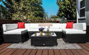 7 pcs Patio Set Glass Top Table Outdoor Furniture Sofa Set